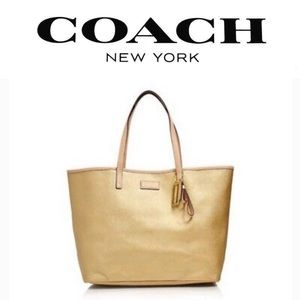 Coach Metro Park Large Gold Leather Tote